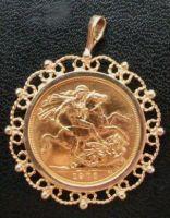 Gold Sovereign Pendant